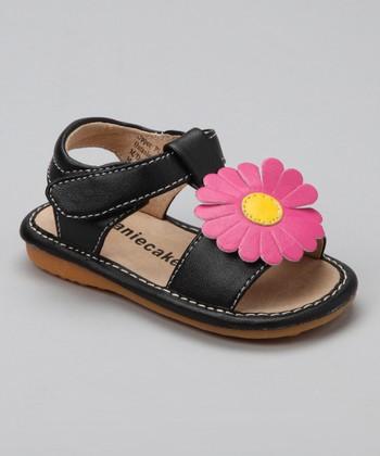 Laniecakes Black & Hot Pink Flower Squeaker Sandal