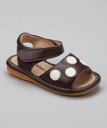 Brown Polka Dot Squeaker Sandal