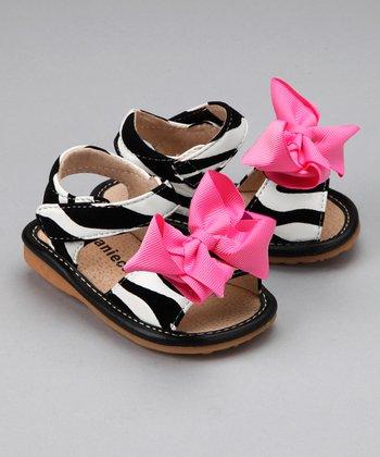 Laniecakes Black & White Zebra Hot Pink Bow Sandal