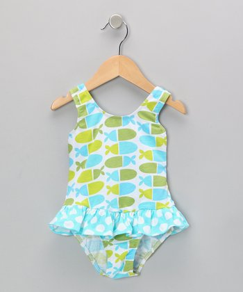 Blue Jellybean Fish Skirted Sunsuit - Infant, Toddler & Girls