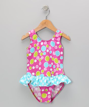 Pink Bubble Dot Skirted Sunsuit - Infant, Toddler & Girls
