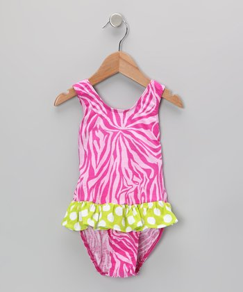 Pink Zebra Skirted Sunsuit - Infant, Toddler & Girls