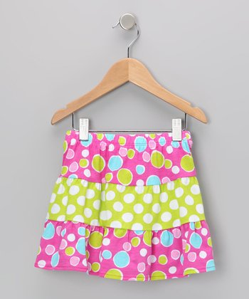 Pink Bubble Dot Tiered Skirt - Toddler & Girls