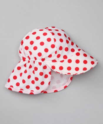 White Cherry Polka Dot Desert Hat
