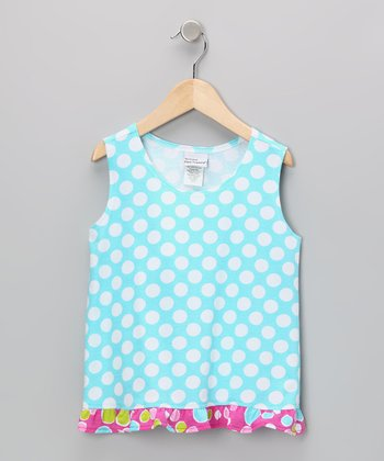 Aqua Punch Polka Dot Ruffle Tank - Infant, Toddler & Girls