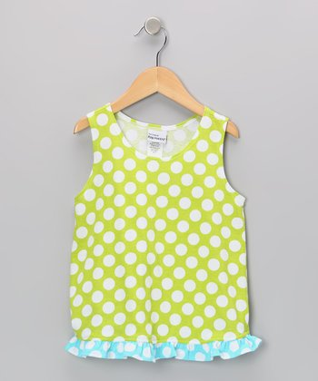 Kiwi Punch Polka Dot Ruffle Tank - Infant, Toddler & Girls