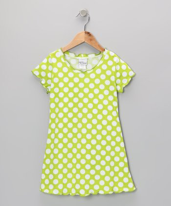 Kiwi Punch Polka Dot Lettuce-Edge Dress - Infant, Toddler & Girls