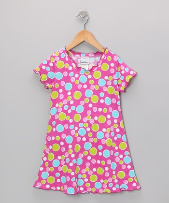 Pink Bubble Dot Lettuce-Edge Dress - Infant, Toddler & Girls