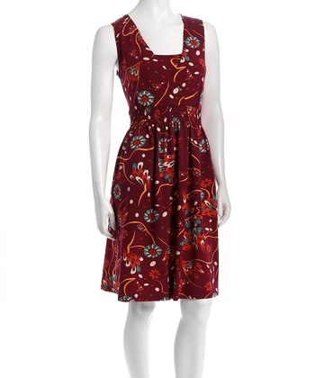 Red & Orange Floral Nursing Dress