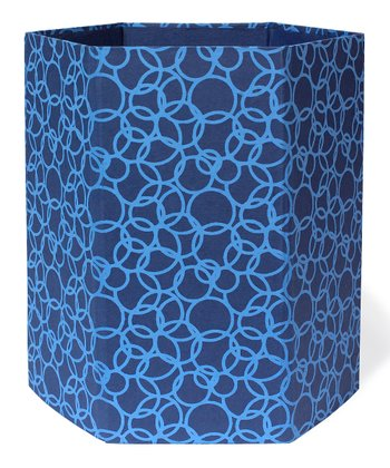 Blue Interlocking Circle Recycled Wastebasket