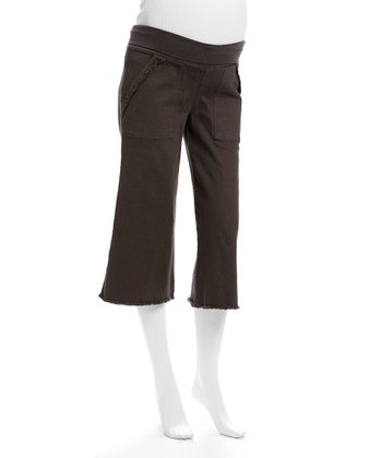 Pecan Under-Belly Maternity Capri Pants