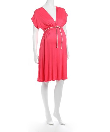 Coral V-Neck Maternity Dress