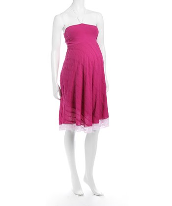 Hot Pink Lace Maternity Dress