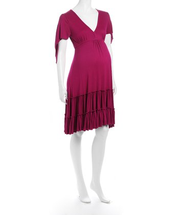 Juliet Dream Hot Pink Ruffle Maternity Dress