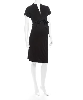 Black V-Neck Maternity Dress