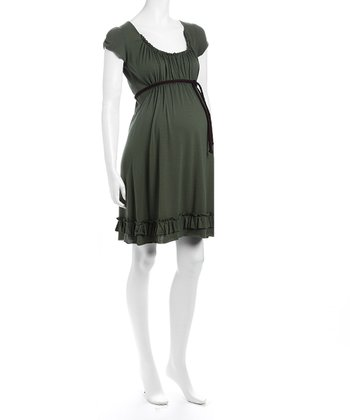 Olive Scoop Neck Maternity Dress