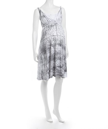 Gray & White Simone Maternity Dress