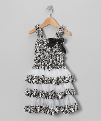 Black Damask Tiered Ruffle Dress - Toddler