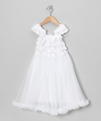 White Chiffon Ruffle Dress - Toddler