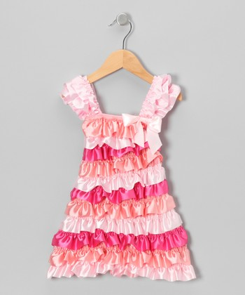 Pink Satin Tiered Cap-Sleeve Dress - Infant, Toddler & Girls