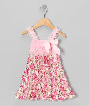 Pink Lace Rose Tiered Dress - Infant, Toddler & Girls