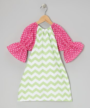 Green & Pink Zigzag & Polka Dot Peasant Dress - Toddler & Girls