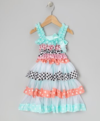 Blue & White Polka Dot Tiered Ruffle Dress - Girls