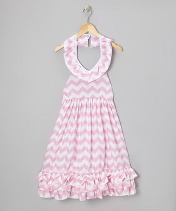 Pink Zigzag Ruffle Halter Maxi Dress - Toddler & Girls