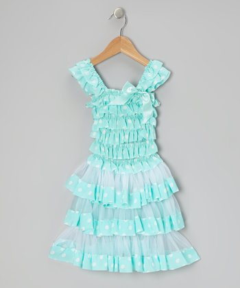 Teal Polka Dot Tiered Ruffle Dress - Toddler & Girls