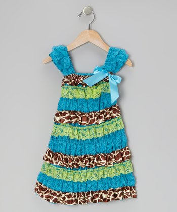 Aqua & Cheetah Lace Ruffle Dress - Toddler