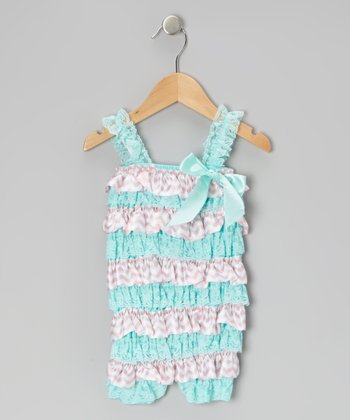 Pink & Teal Zigzag Lace Ruffle Romper - Infant & Toddler