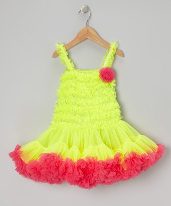 Neon Green & Pink Ruffle Pageant Dress - Toddler & Girls
