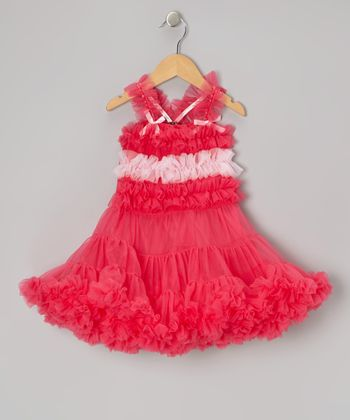 Pink Stripe Ruffle Pageant Dress - Toddler & Girls