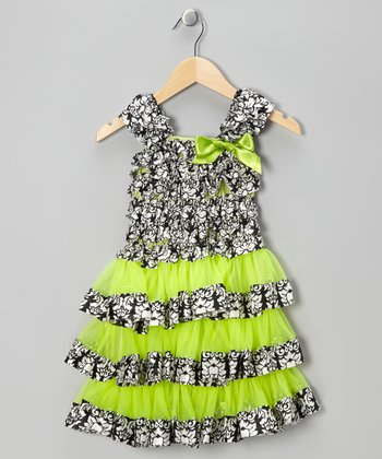 Neon Green & Black Damask Tiered Ruffle Dress - Toddler