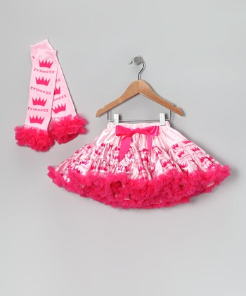 Pink Princess Satin Pettiskirt & Leg Warmers - Toddler & Girls