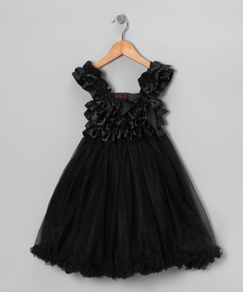 Black Chiffon Overlay Dress - Toddler & Girls