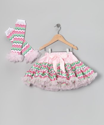 Pink Satin Zigzag Pettiskirt & Leg Warmers - Girls