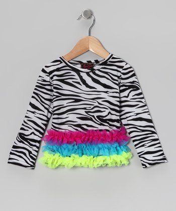 Neon Zebra Ruffle Top - Toddler & Girls