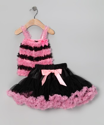 Black & Pink Stripe Chiffon Tank & Pettiskirt - Toddler