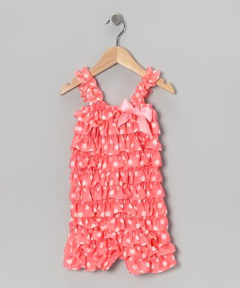 Peach Satin Ruffle Romper - Toddler