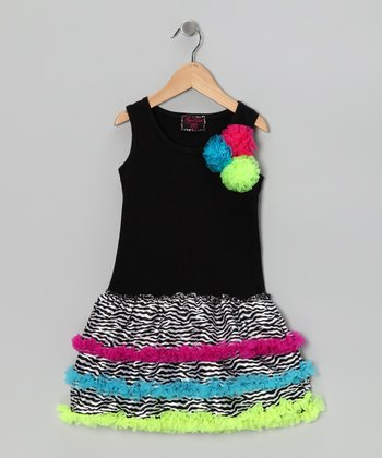 Black Neon Zebra Ruffle Dress - Toddler