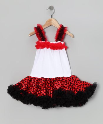 Red & White Polka Dot Ruffle Dress - Toddler & Girls