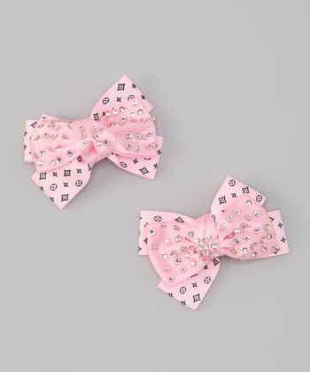 Light Pink Rhinestone Bow Clips