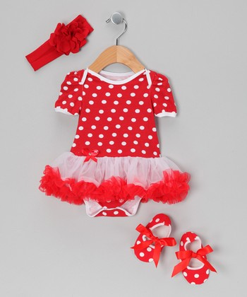 Red Polka Dot Skirted Bodysuit Set