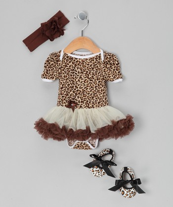 Brown Leopard Skirted Bodysuit Set - Infant