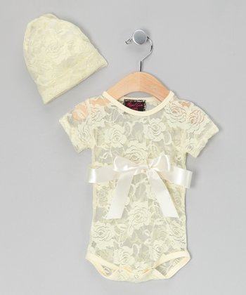 Cream Lace Bodysuit & Beanie - Infant