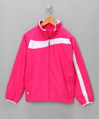 Bright Pink Carrie Warm-Up Jacket - Girls