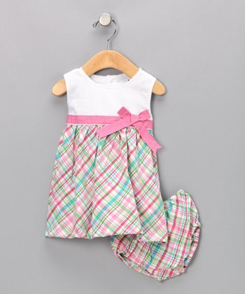 Pink Plaid Savannah Dress & Diaper Cover - Infant