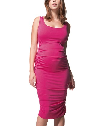 Hot Pink Ruched Maternity Dress