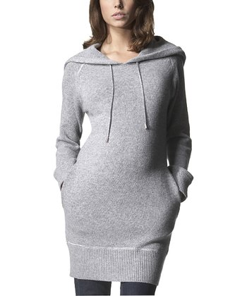 Heather Gray Wool-Blend Maternity Hooded Dress